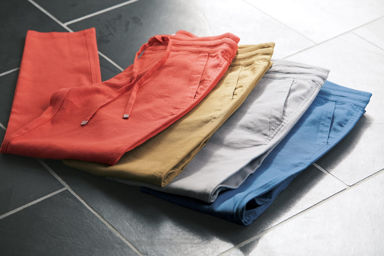COLOR LINEN TAPERED PANTS